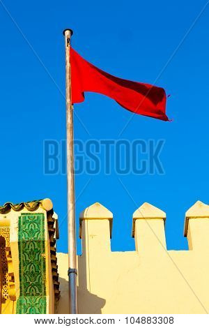 Tunisia  Waving Flag In The Blue  Battlements  Wave