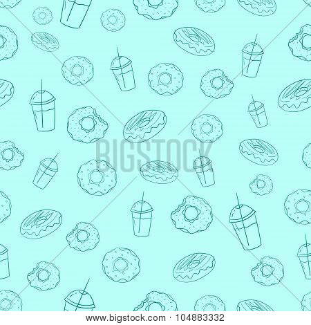 Donut and milkshake seamless background vector