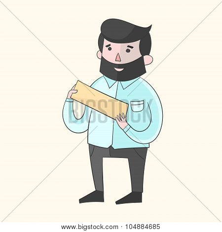 Hipster man beard with plate for text color