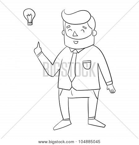 Hipster man beard with idea lamp for text
