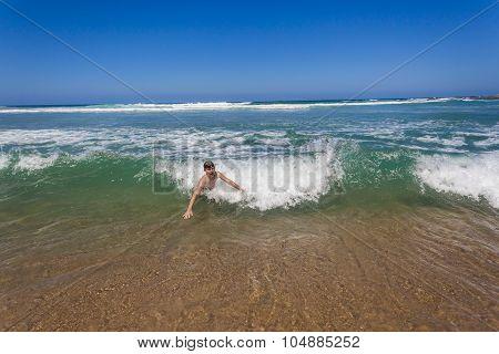 Boy Swim Shore Break Wave