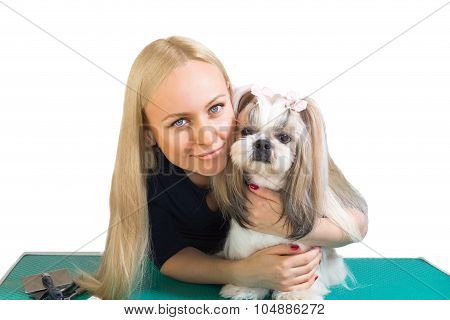 Woman Groomer Hug Cute Shih-tzu Dog