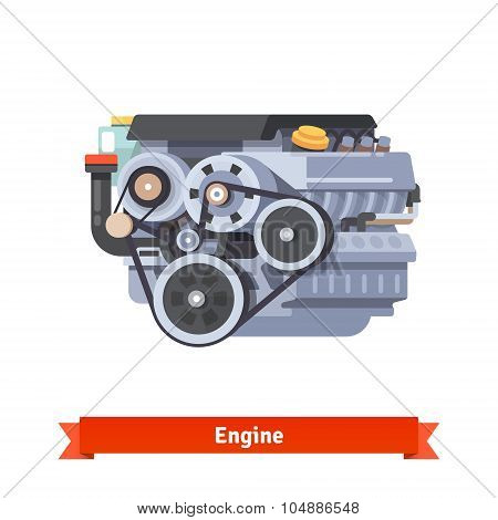 Modern car internal combustion engine