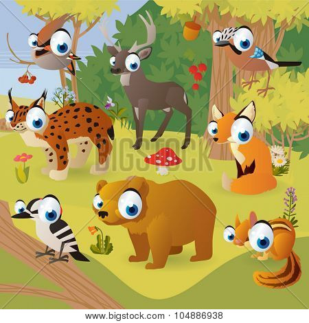 Vector cartoon scenery: woodland forest animals: waxwing, deer, lynx, fox, chipmunk, woodpecker, bear