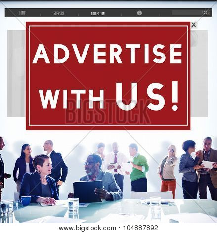Advertise With Us Advertisement Announcement Commercial Concept