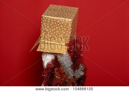 winter holiday christmas concept - boy in santa hat with golden gift  box on top of the head