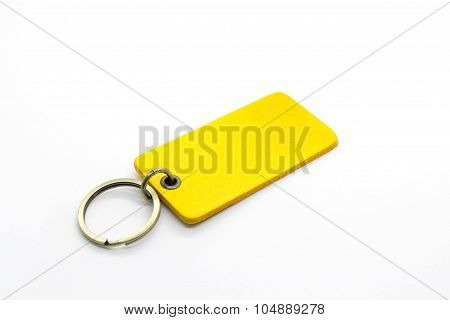 Yellow leather Keychain