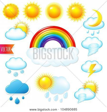 Bright Weather Icons Set With Gradient Mesh, Vector Illustration