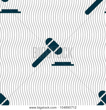 Judge Hammer Icon. Seamless Pattern With Geometric Texture. Vector