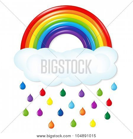 Rainbow With Color Rain With Gradient Mesh, Vector Illustration