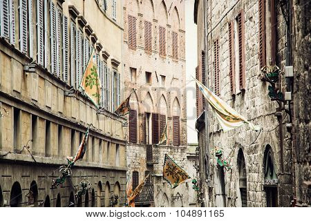 Street In The Historic Center Of Siena, Italy