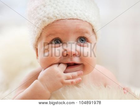 Portrait of adorable smiling baby girl