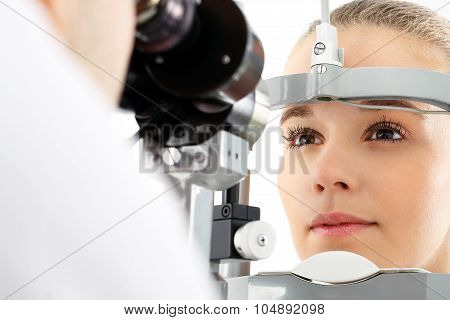 The patient during an eye examination at the eye clinic