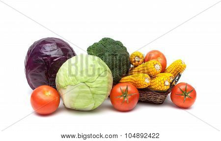 Tomatoes, Cabbage And Corn On A White Background