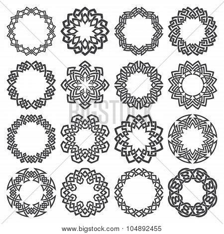 Sixteen octagon circular elements for logo design