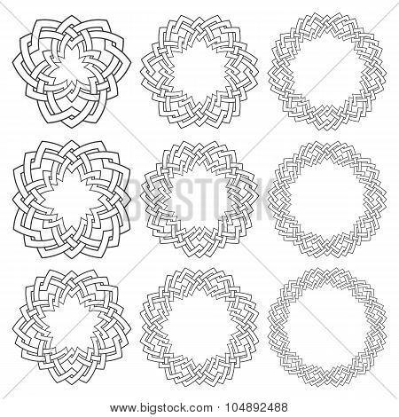 Set of circular patterns with stripes braiding
