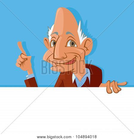 Old Man Holding Blank Sign