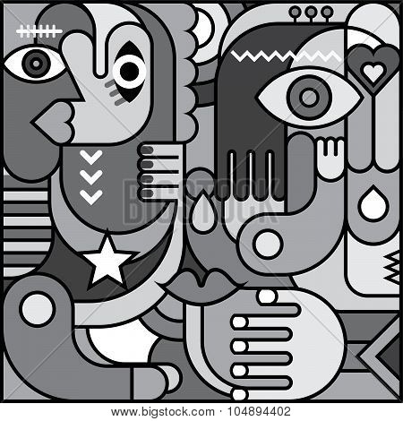 Greyscale Abstract Art Picture