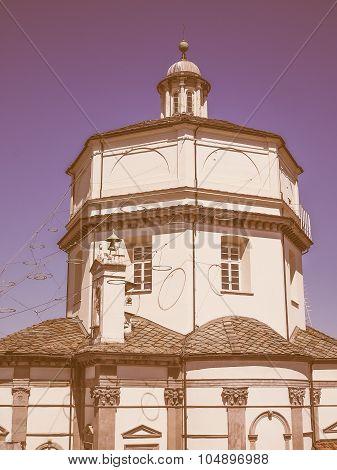 Retro Looking Monte Cappuccini Church In Turin