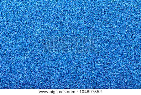 Blue sponge texture closeup background