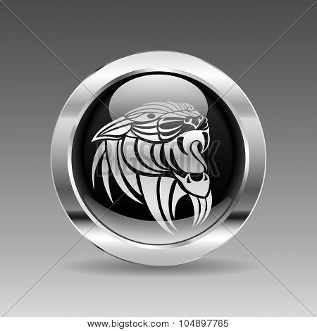 Black Glossy Chrome Button - Panther Head