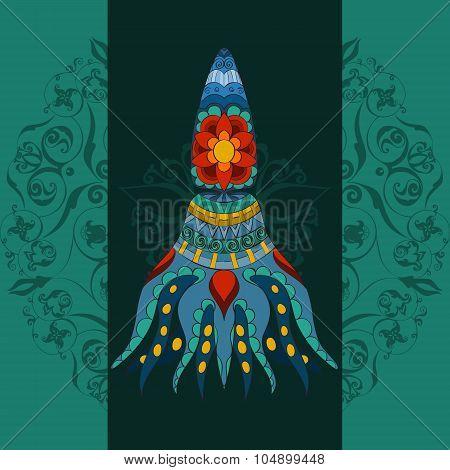 Hand drawn Ornamental calmar. Fairy-tale vector calmar.