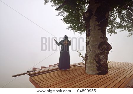Silhouette Of Woman In Misty Fog