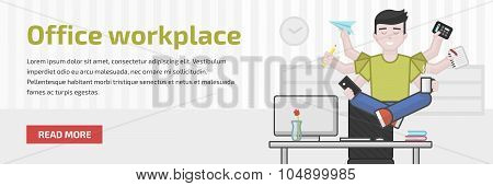Website Header Flat Illustration Of Meditating Multitasking Office Worker