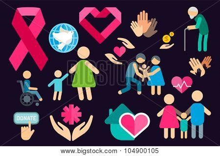 Charity care flat icons set. Care vector logo icons. Care silhouette isolated. Care, abstract hands logo, heart logo, old people care logo, child care logo, care logo, togetherness concept, family