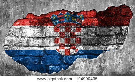 Flag of Croatia, Croatian flag painted on brick wall.