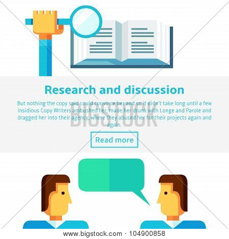 Research And Discussion Concept Vector Illustration In Flat Infographic Style.
