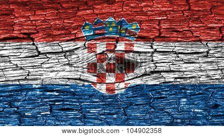 Flag of Croatia, Croatian flag painted on wooden texture.