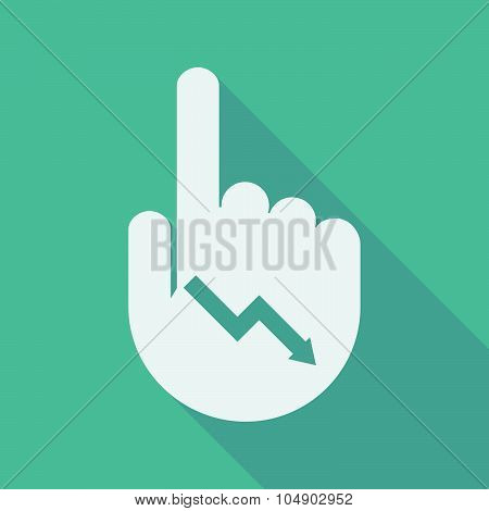Long Shadow Pointing Finger Hand With A Descending Graph