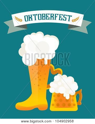 Beer vector icons set. Beer bottle, beer glass and beer label. Beer cups silhouette, beer vector icons, beer isolated. Oktoberfest beer vector set. Beer drink, beer sign, beer pub alcohol