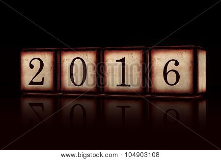New Year 2016 In 3D Wooden Cubes Over Black Background