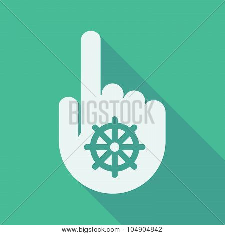 Long Shadow Pointing Finger Hand With A Dharma Chakra Sign