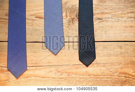 Tie On A Wooden Table