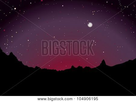 mountain range skyline with sunset and stars