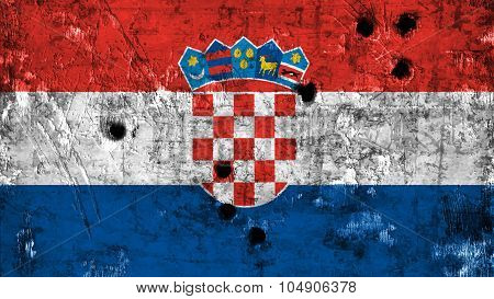 Flag of Croatia, Croatian flag painted on metal texture with bullet holes