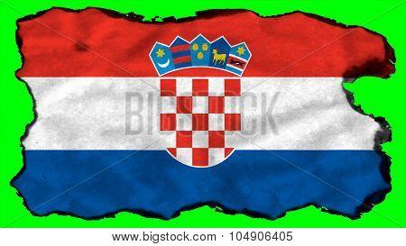 Flag of Croatia, Croatian flag painted on paper texture.