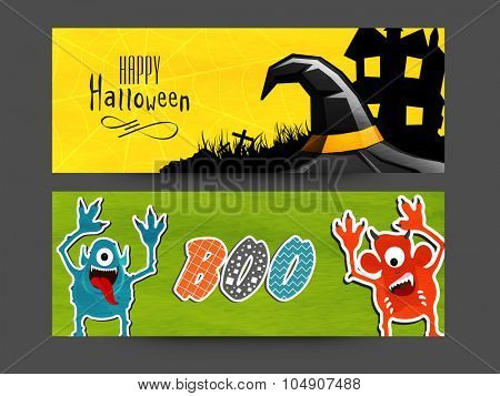Creative website header or banner set with horrible ornaments for Halloween Party celebration.