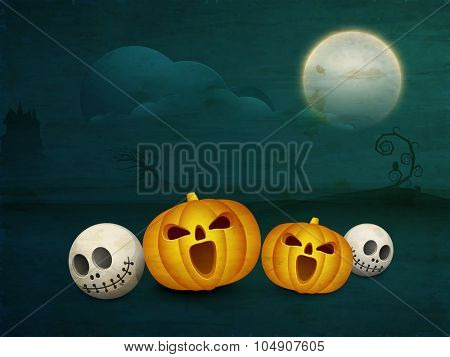 Scary pumpkins with skulls on horrible grungy night background for Happy Halloween Party celebration.