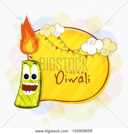 Indian Festival of Lights, Happy Diwali celebration with creative funny firecracker on abstract background.