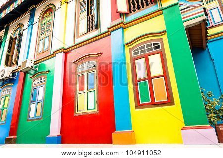 Tilted Perspective Of Colorful House Facade Of Ancient Traditional Buildings In Little India