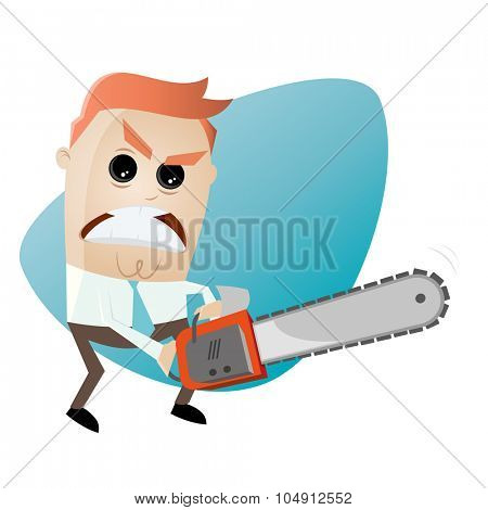 angry man with chainsaw
