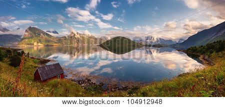 Summer sunset panorama of Lofoten Islands, Norway