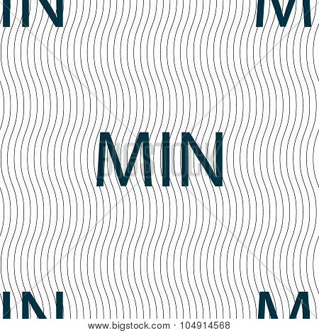 Minimum Sign Icon. Seamless Pattern With Geometric Texture. Vector