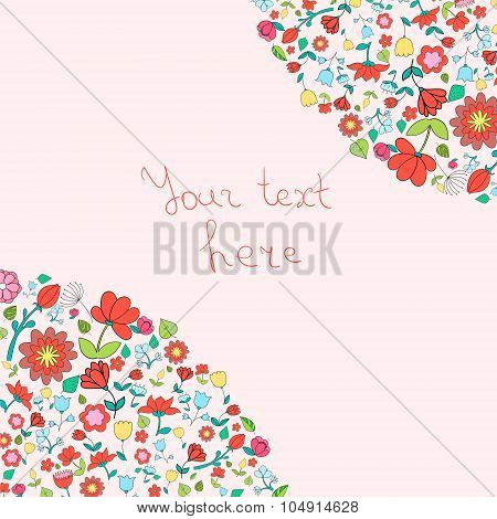 Flowers text placeholder corner