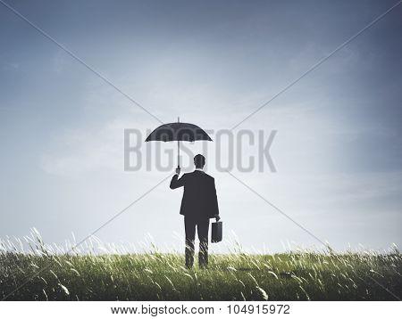 Businessman Umbrella Protection Risk Freedom Concept