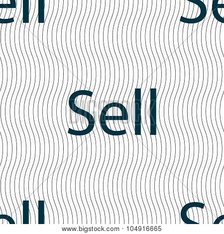 Sell Sign Icon. Contributor Earnings Button. Seamless Pattern With Geometric Texture. Vector